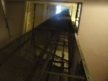 The elevator shaft, looking up. We nearly always took the stairs.