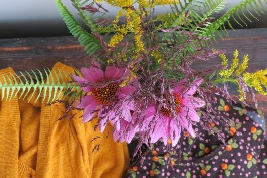 Purple Cone Flowers, Sweet Golden Rod, ferns, unidentified grass