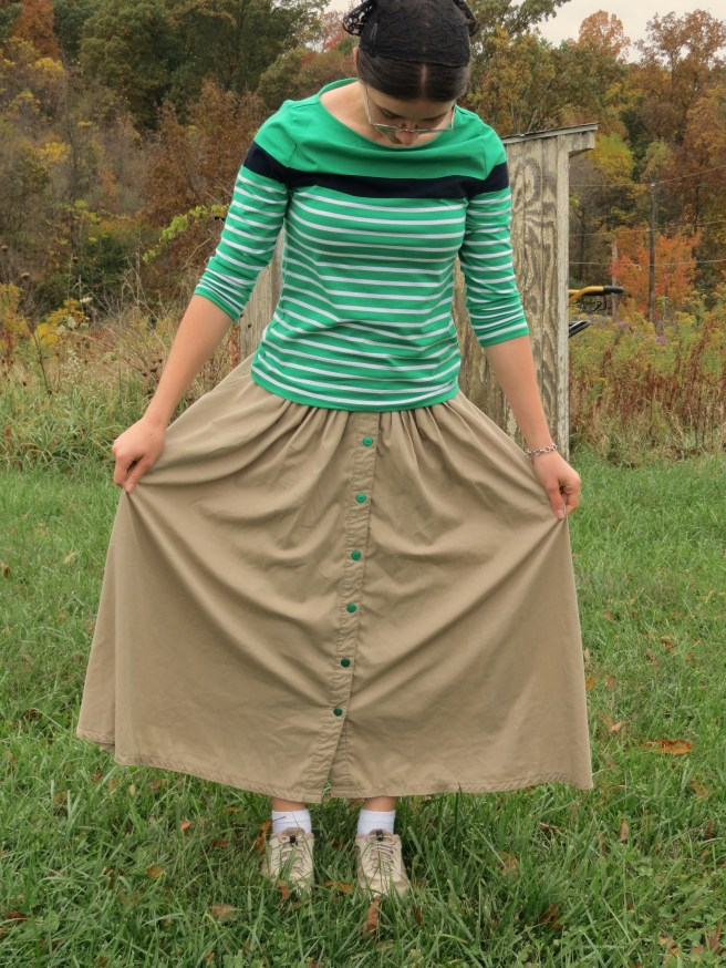 Green Button Skirt 001
